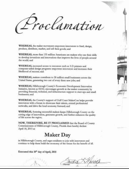 Makers Day 2015 Proclamation