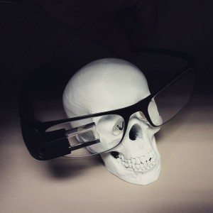 skull with google glass